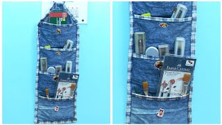 DIY Multipurpose Organizer form Old Jeans/Denim - Old Jeans Reuse Ideas