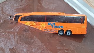 Cars for Kids fall in turbid Water - The Bus sliding and hits