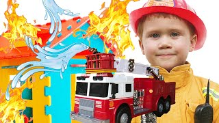 Makar plays with Fire Truck and wants to be a Firefighter