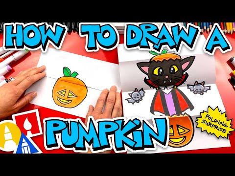 How To Draw A Pumpkin Vampire Kitten Folding Surprise