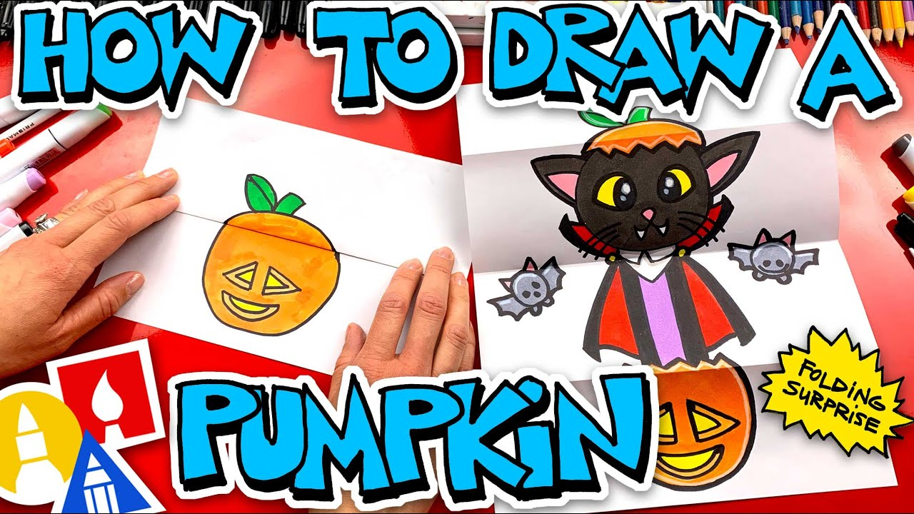 How To Draw A Pumpkin Vampire Kitten Folding Surprise