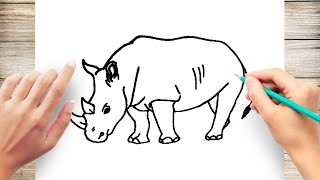 How to Draw a Rhino Step by Step for Kids