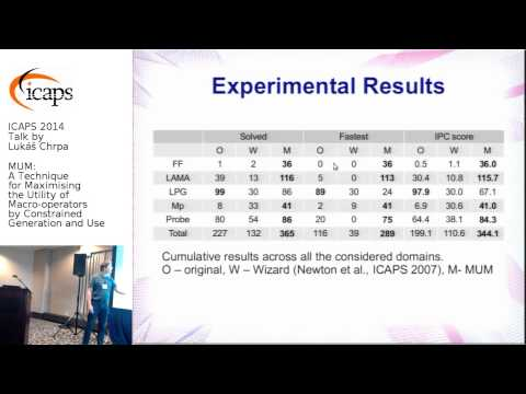 "ICAPS 2014: Lukáš Chrpa on ""MUM: A Technique for Maximising the Utility of Macro-operators ..."""