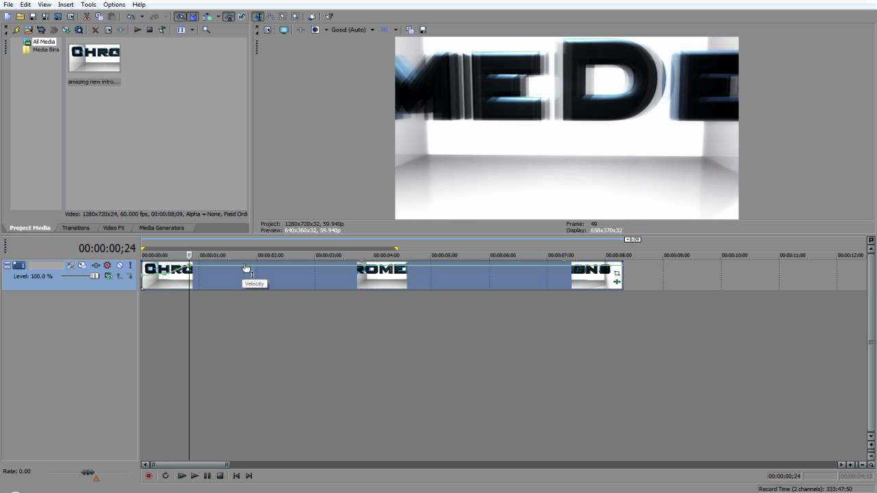 how to add slow motion effect vegas pro