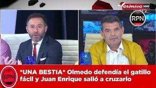 *UNA BESTIA* Olmedo defendía el gatillo fácil  y Juan Enrique salió a cruzarlo