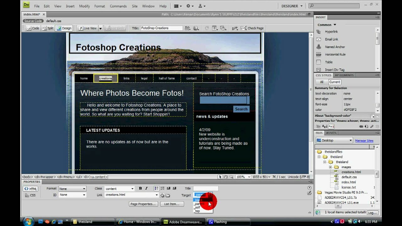 how to create a web page using dreamweaver