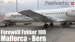 Goodbye Helvetic Fokker 100! Helvetic Airways Flight 2L23 Mallorca PMI - Bern Belp BRN