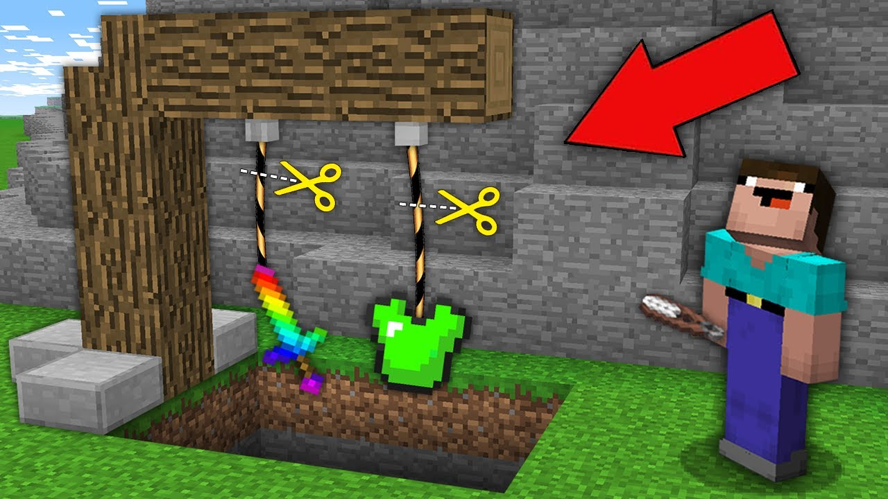 Minecraft NOOB vs PRO: WHICH ROPE WILL NOOB CUT TO GET RAINBOW SWORD OR EMERALD ARMOR? trolling