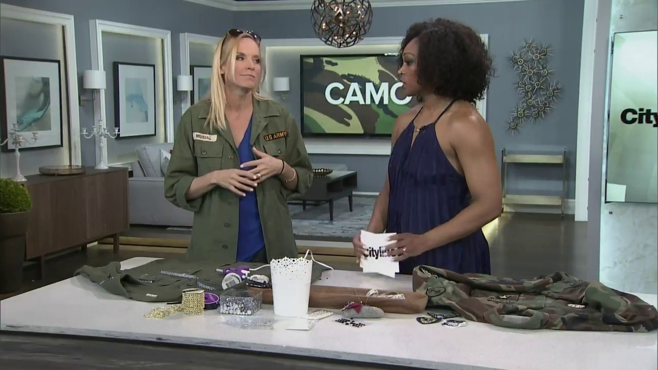 4a6f0417d0156 How to customize a camo jacket with DIY patches and rhinestones ...