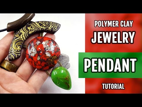DIY Polymer Clay Pendant with Faux Red Brecciated Jasper and Jade. Stylish Pendant. VIDEO Tutorial!