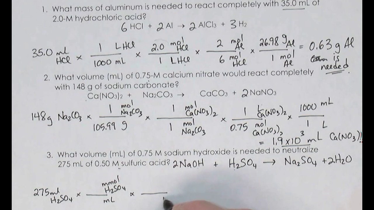 Solution Stoichiometry Problems