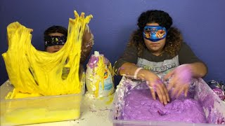 MAKING SLIME BLINDFOLDED MAKING GIANT FLUFFY SLIMES