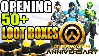 Overwatch Anniversary Loot Box Opening! 50+ LOOT BOXES! New Skins, Emotes, and MORE!