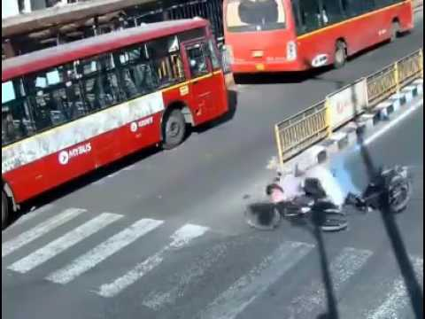 Bhopal CCTV Road Accident Bus to Motor Cycle Bike to Bicycle   youtube