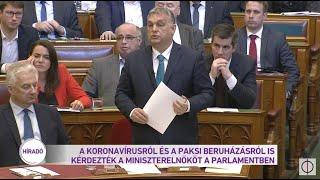 A koronavírusról és a paksi beruházásról is kérdezték a miniszterelnököt a parlamentben