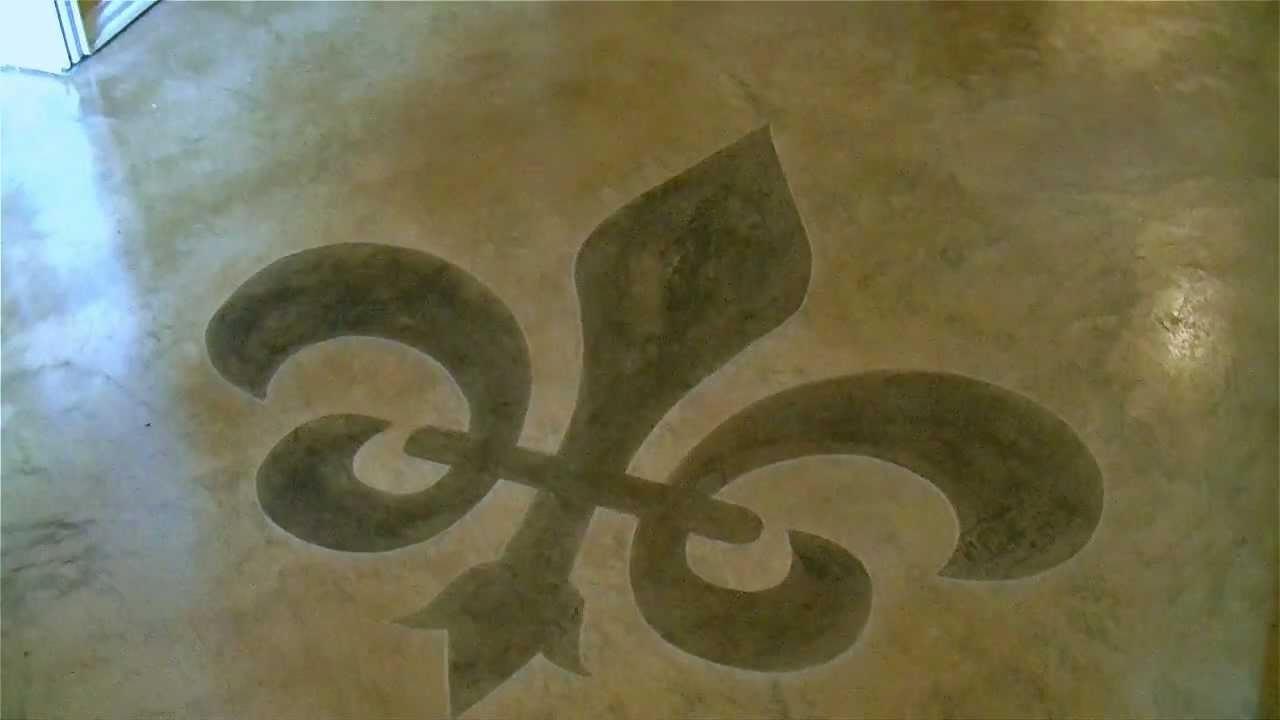 Scoring a Fleur de Lis design in concrete by SolCrete LLC  YouTube