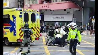 תיעוד קשה מהונג קונג: מפגין נורה באמצע הרחוב, אחר הוצת