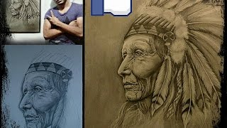 "Drawing - Apache. Dibujo - Apache Anciano ""Sabiduría Emplumada"""
