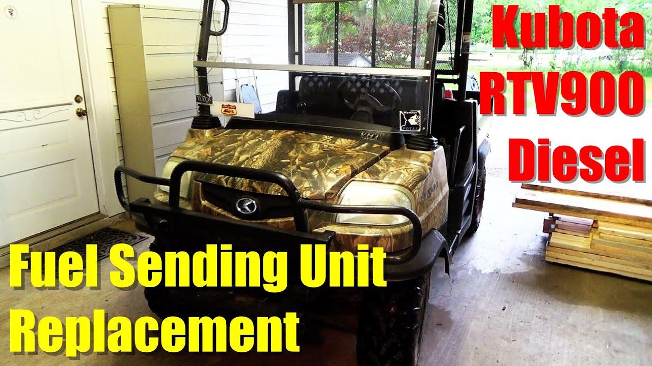 changing fuel sending unit on kubota rtv900 youtube