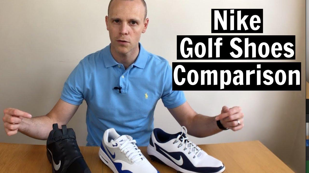 Nike Golf Shoes Comparison Nike Air Max 1g Vs Nike Tour Premiere Vs Nike React Vapour 2 Youtube