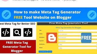 How to make Meta Tag Generator Tool Website Free on Blogger |Earn Upto Daily $50 Using SEO Tool
