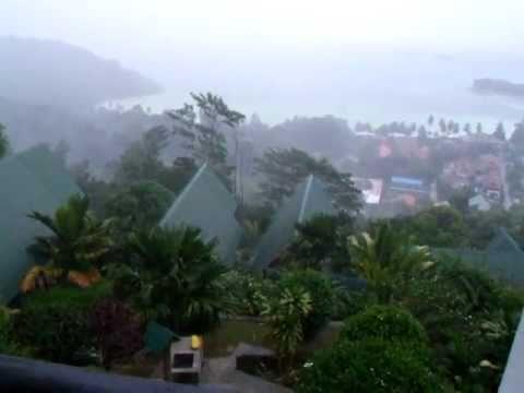 Tropical rain in Seychelles, Praslin Island