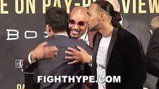 MAYWEATHER CEO GIVES PACQUIAO A BIG HUG IN FRONT OF KEITH THURMAN