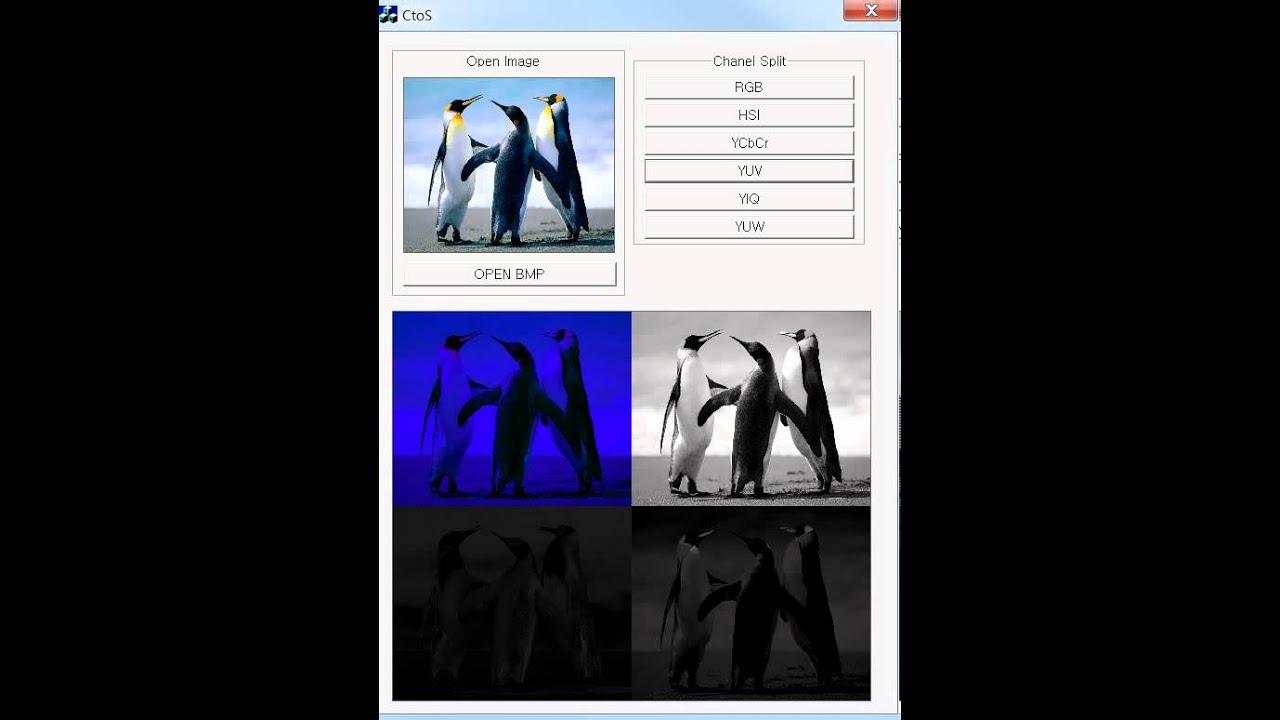 Split color channels - RGB, HSI, YCbCr, YUV, YIQ, YUW