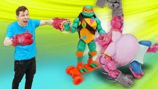 Веселые игры в игрушки. Новые черепашки ниндзя! Новое видео для детей.