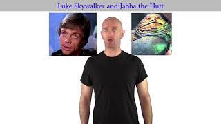 Luke Skywalker and Jabba the Hutt meet for coffee.