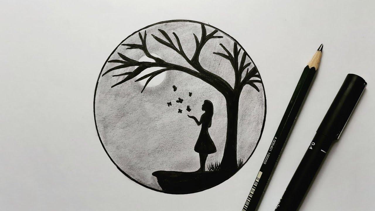 تعليم الرسم رسم منظر طبيعي ليلي في دائرة بالرصاص سهل جدا للمبتدئين