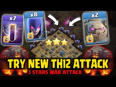 2 Max Golem + 8 Witch + 7 Bat Spell = Try New TH12 War 3star Attack | Clash Of Clans