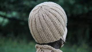 Repeat youtube video How to knit a ribbed hat. Video tutorial with detailed instruction.