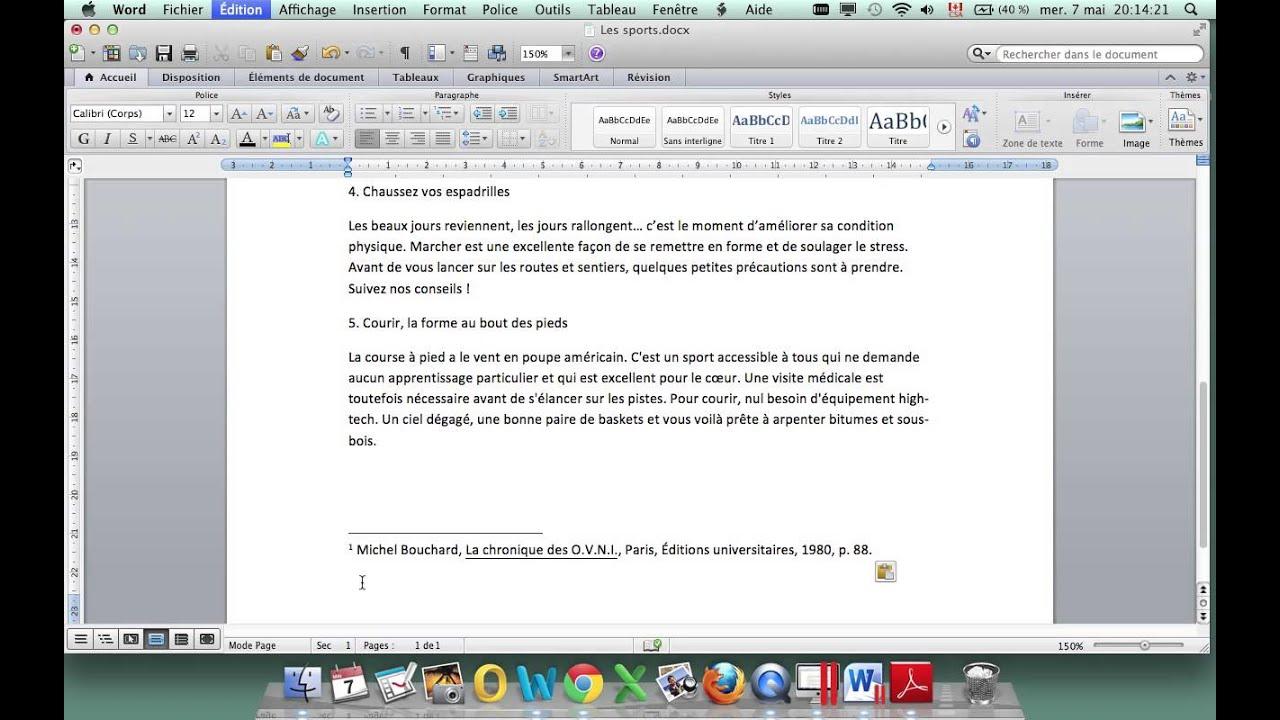 note de bas de page avec word  mac