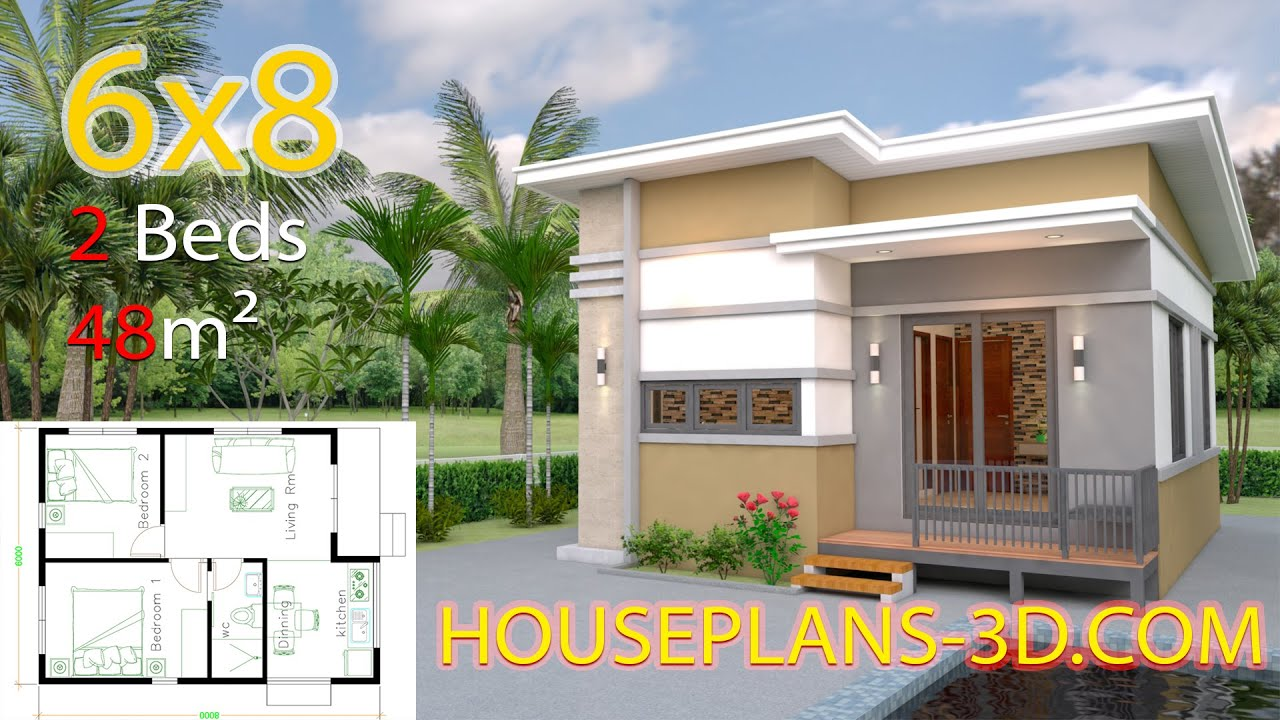 Small House Design Plans 6x8 With 2 Bedrooms Youtube