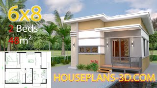 Small House Design Plans 6x8 with 2 Bedrooms