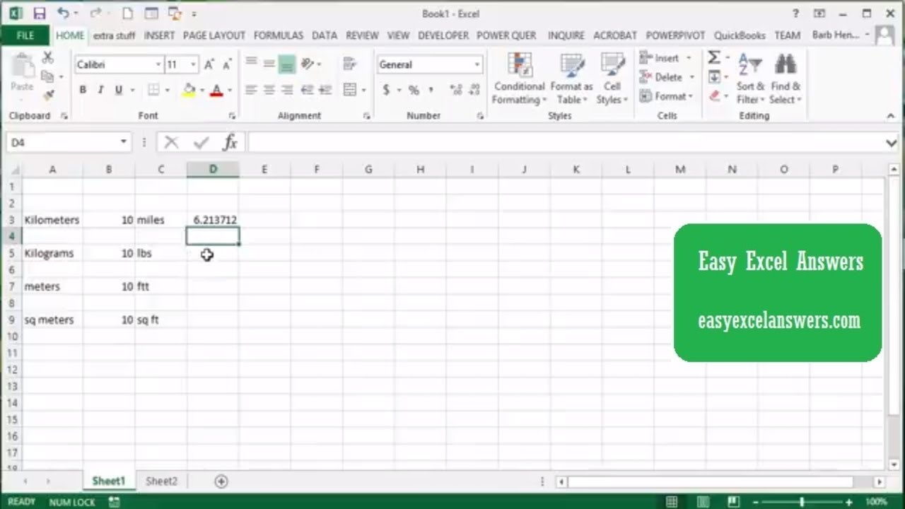 The Convert Function In Excel Metric To Imperial Youtube