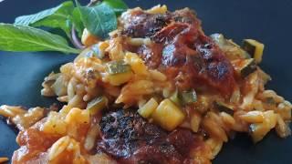 Simple recipe for cheesy baked tomato risoni