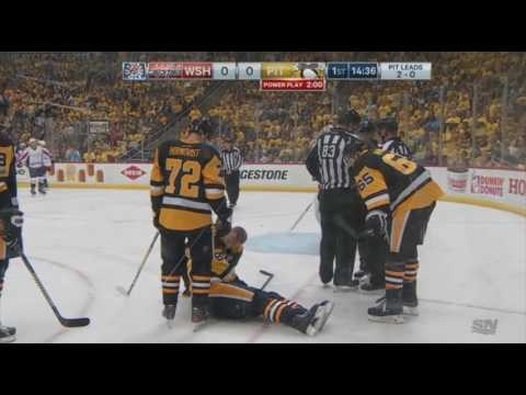 Sidney Crosby goes down after cross-check to the head | Playoffs Game 3