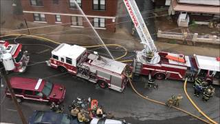 PASSAIC FIRE DEPARTMENT WITH MUTUAL AID COMPANIES BATTLING MAJOR 7TH ALARM FIRE ON GREGORY AVENUE.