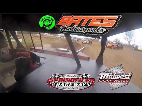 Kyle Bates in car Cam Heat Race Springfield Raceway opening Night 4-06-2019