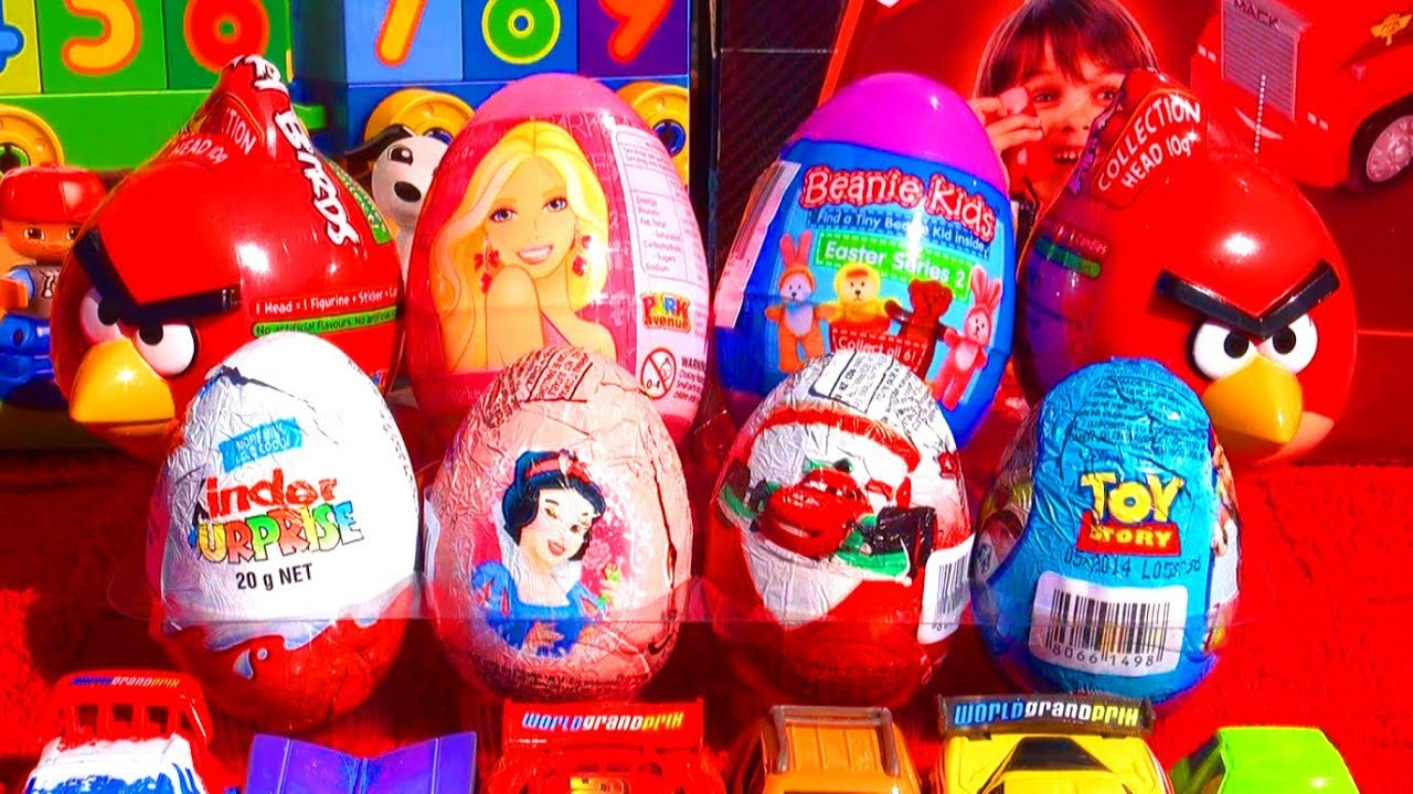 8 Easter Eggs Angry Birds Kinder Surprise Toy Story Cars Disney Princess Barbie Candy Surprises