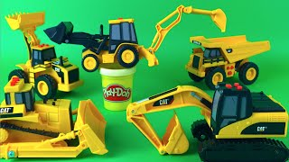 Play Doh Play Mighty Machines CAT Mini Earth Movers Bulldozer Excavator Diggers Loader Dump Truck