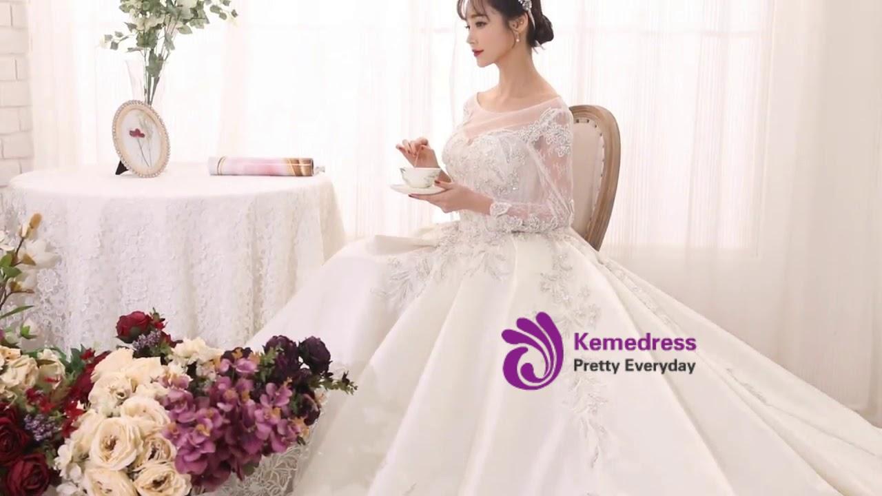 Kemedress Ball Gown Beige Long Sleeve Satin Backless Appliques ...