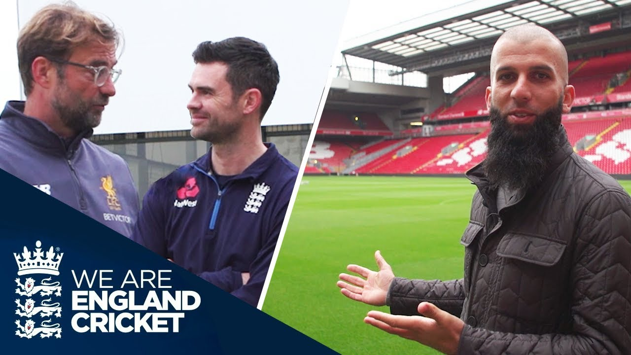 Anfield Tour Moeen Ali And Jimmy Anderson Meet Jrgen Klopp During