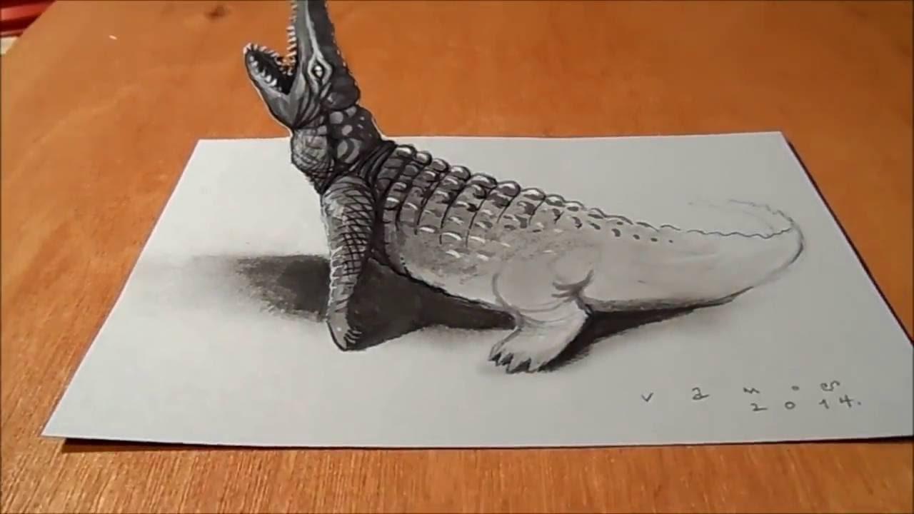 Szkic 3d Krokodyla Niesamowity Efekt Iluzja Youtube