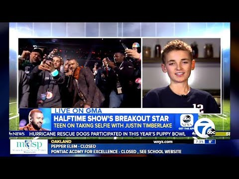 Ryan Gets Selfie With Timberlake Super Bowl Halftime (GMA Interview)