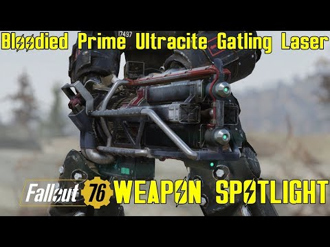 Fallout 76: Weapon Spotlights: Bloodied Hitman's Prime Ultracite Gatling Laser