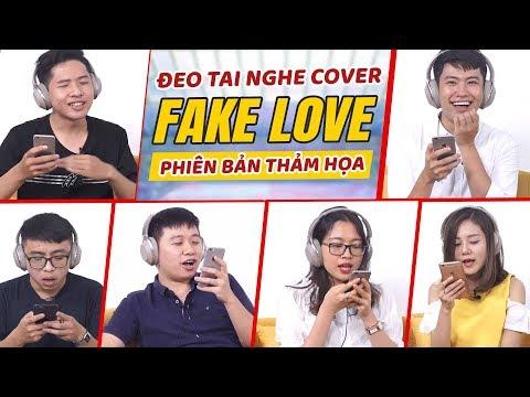 Đeo tai nghe hát Fake Love lời Việt : Schannel và Linh Ka ai thảm hoạ hơn !
