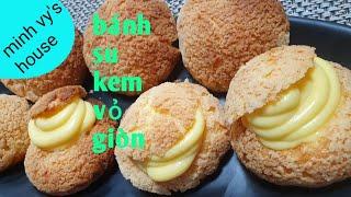 #43 bánh su kem - cách làm bánh su kem vỏ giòn - nhân kem béo vỏ bánh như mai rùa